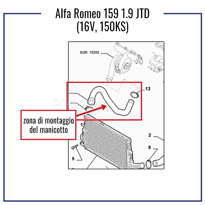 A L F A R O M E O 159 1.9 JTD TUBO TURBO ARIA MANICOTTO INTERCOOLER 50508204