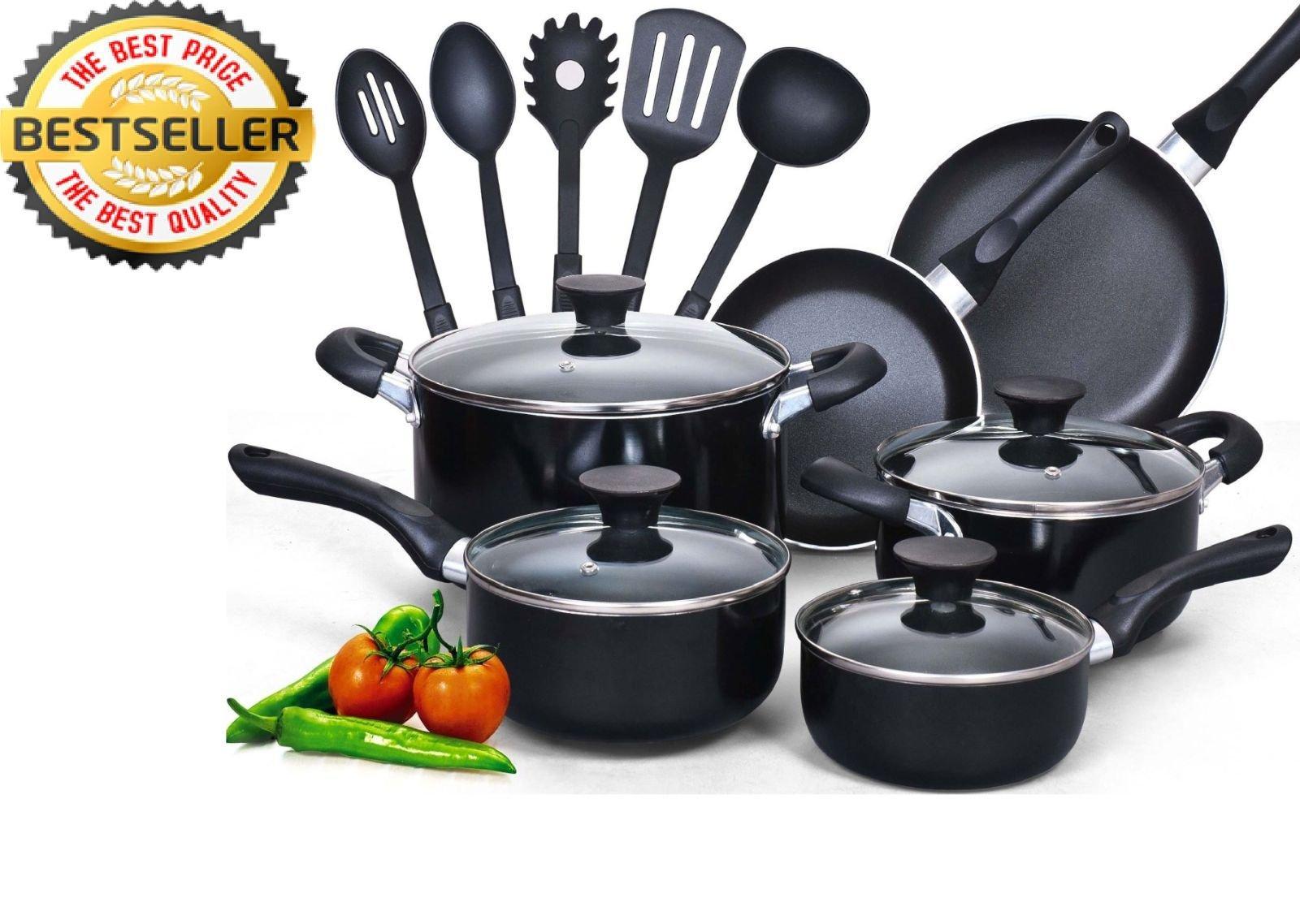 New! Cook N Home 15 Piece Non Stick Black Soft Handle Cookware Set Kitchen