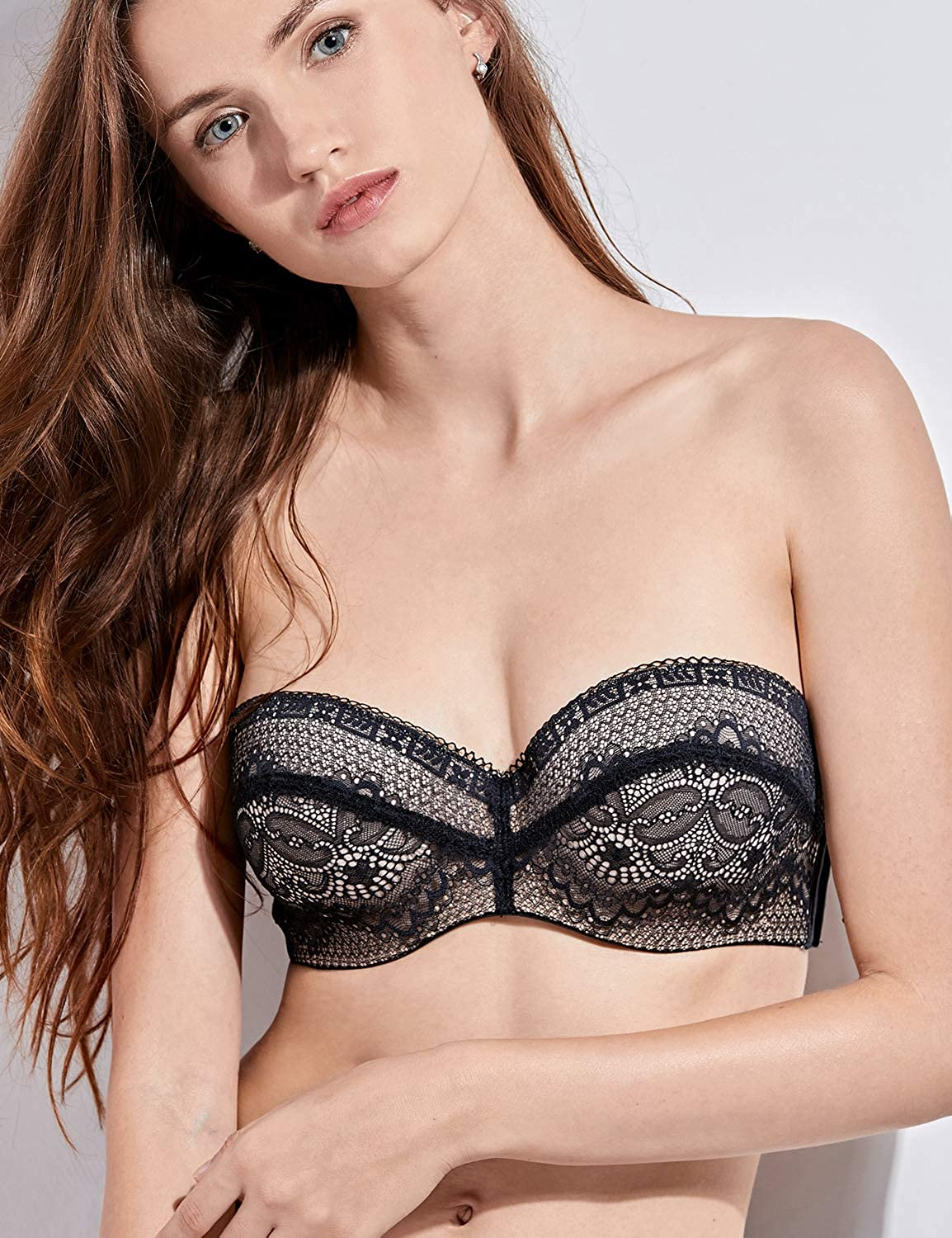 377778aa5b7 DELIMIRA Women s Slightly Padded Lace Underwire Convertible Multiway  Strapless Bra at Amazon Women s Clothing store