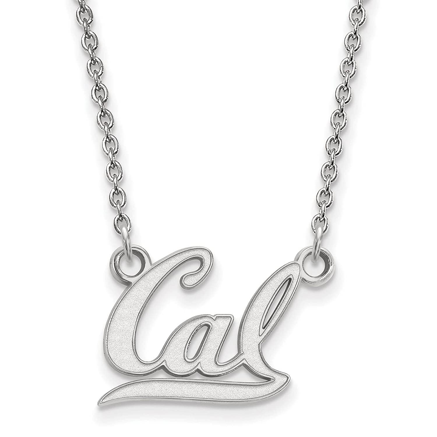 Sterling Silver Rhodium-plated Laser-cut University of California Berkeley Small Pendant w//Necklace 18
