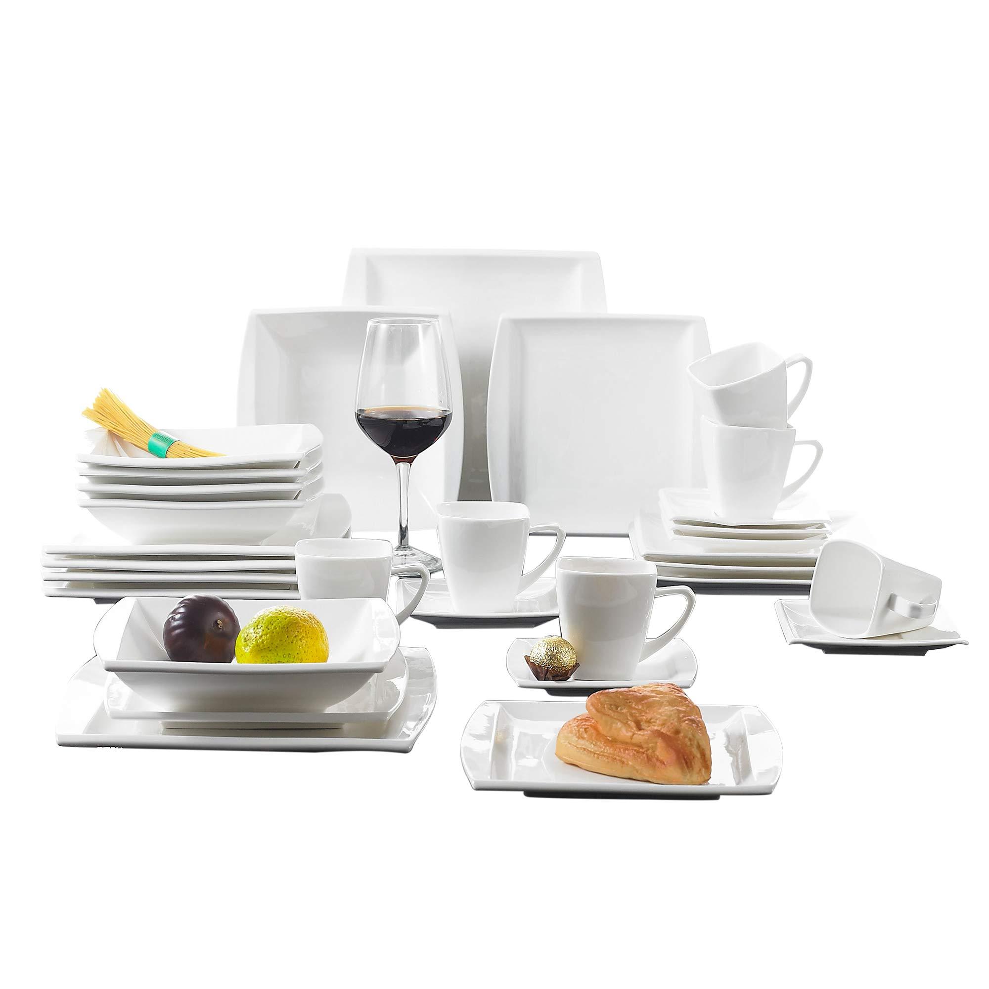 MALACASA, Serie Blance, Juego de Vajilla de Porcelana, Juegos de vajilla 30 Piezas
