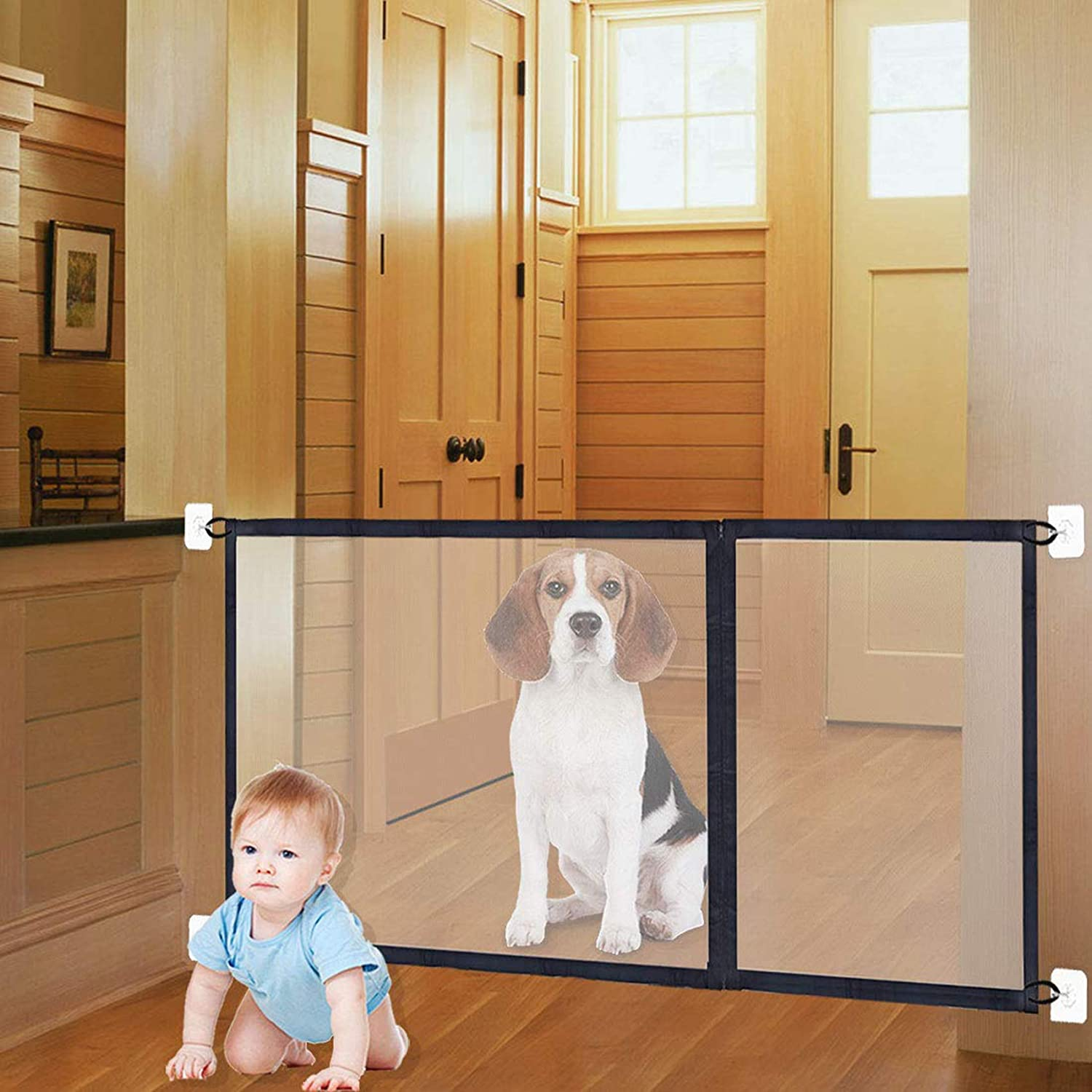 """3-in-1 Sizes Magic Gate Pet Gate for Dog Doors with Hooks Safety Fence Black (71"""" 43"""" 27"""" Length) : Baby"""