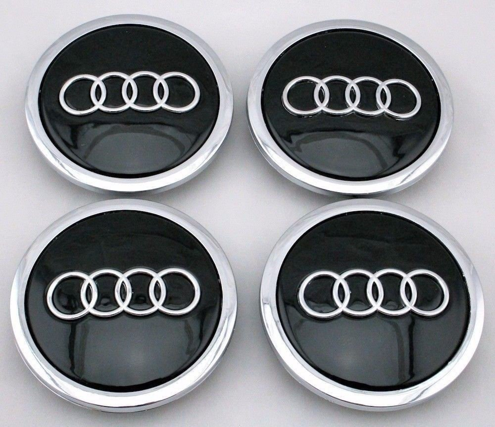 2002-2016 Audi BLACK Center Caps 70mm Hub Caps FITS NEARLY ALL MODELS 4x