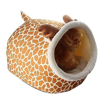 Casa para mascotas pequeñas de dibujos animados, suave, portátil, con felpa cálida y cojín de cama extraíble y lavable de Ifoyo: Amazon.es: Productos para ...
