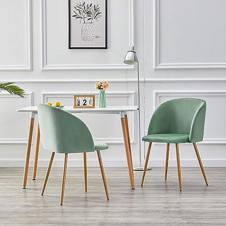 IPOTIUS Pack 2 Sillón Lounge Terciopelo Retro, Silla de Comedor/Cocina Sillas Nordicas Tapizadas con Patas Metal Fuertes y Tela de Terciopelo Sedoso, Verde: Amazon.es: Hogar