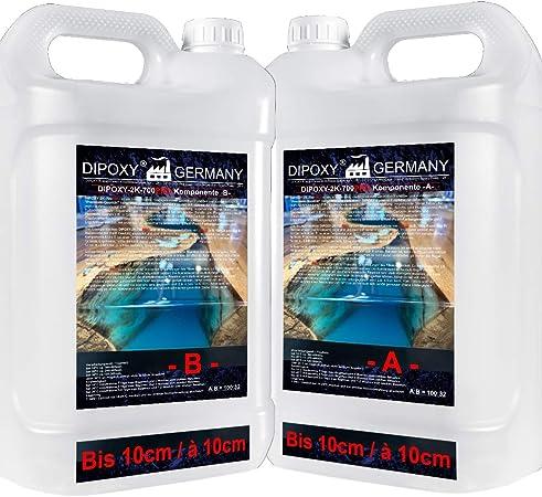 9 24kg Dipoxy 2c 700pro Resine Epoxy A 10cm Transparente Glacage Epoxyde Bi Composant Epoxy Resine Coulee Cristalline Prv Table Sol Bois Fibre Carrelage Colle Amazon Fr Bricolage