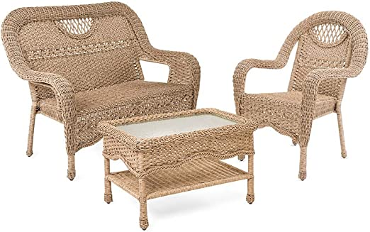 Prospect Hill mimbre sillas, silla y mesa de café Set: Amazon.es ...