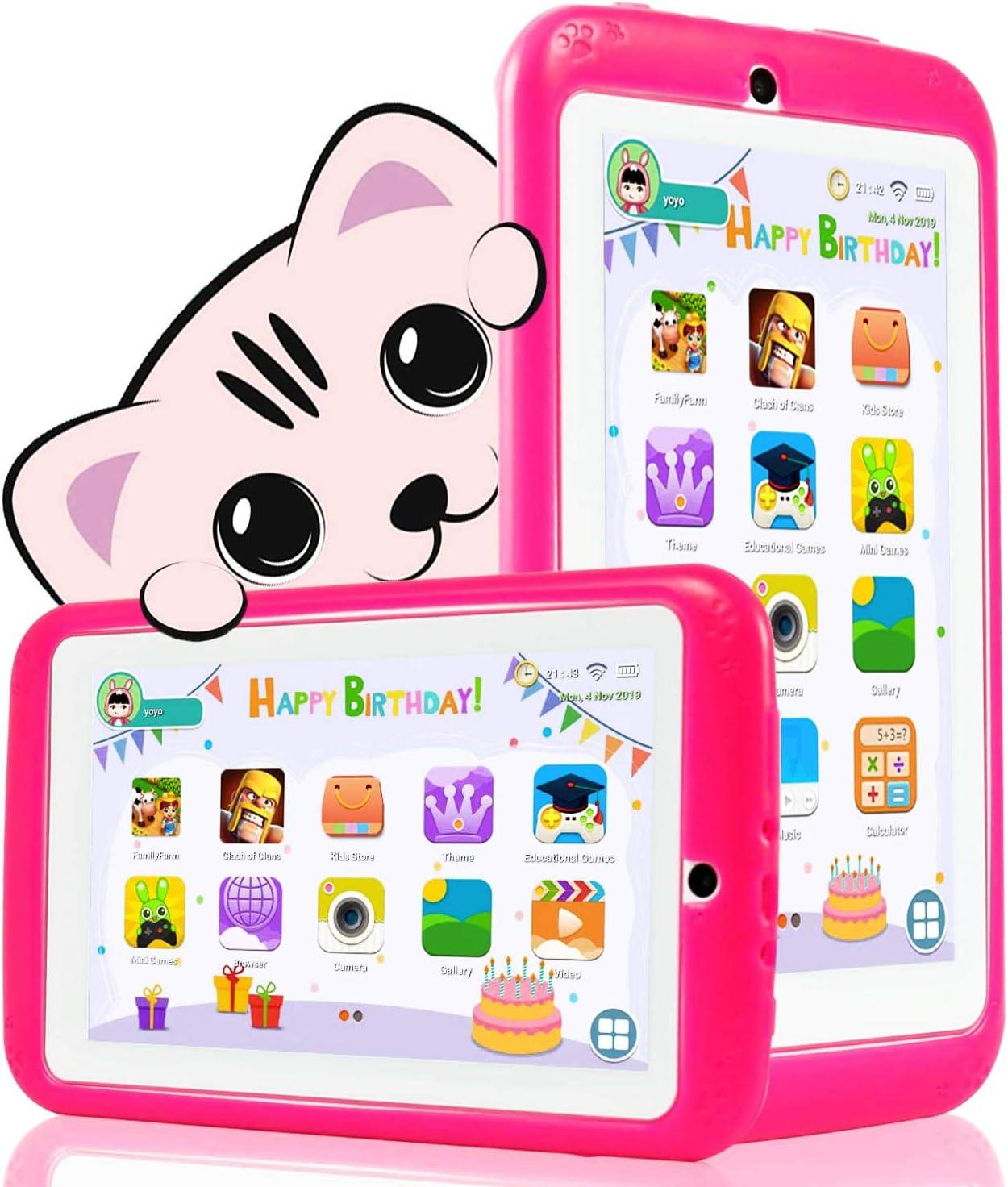 YESTEL Tablet per Bambini 7 Pollici Android 10.0 Kids Tablet e Quad Core 1 GB RAM e 16 GB Rom con Wi-Fi e Bluetooth 1024 * 600 IPS Doppia Fotocamera Educazione Allo Spettacolo Tablet per Bambini-Rosa