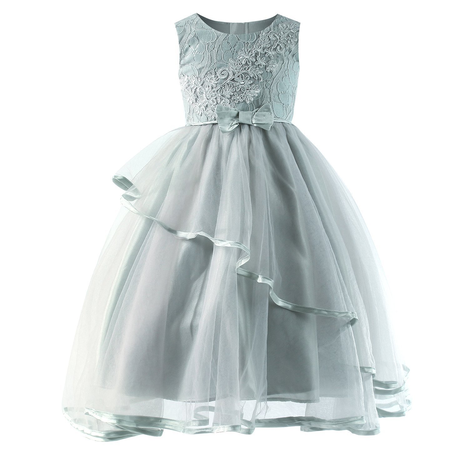 Sharequeen Girl's Princess Party Formal Dresses Bow-Knot Wedding Flower Girls Tulle Gown (6 Years, Graygreen-028)