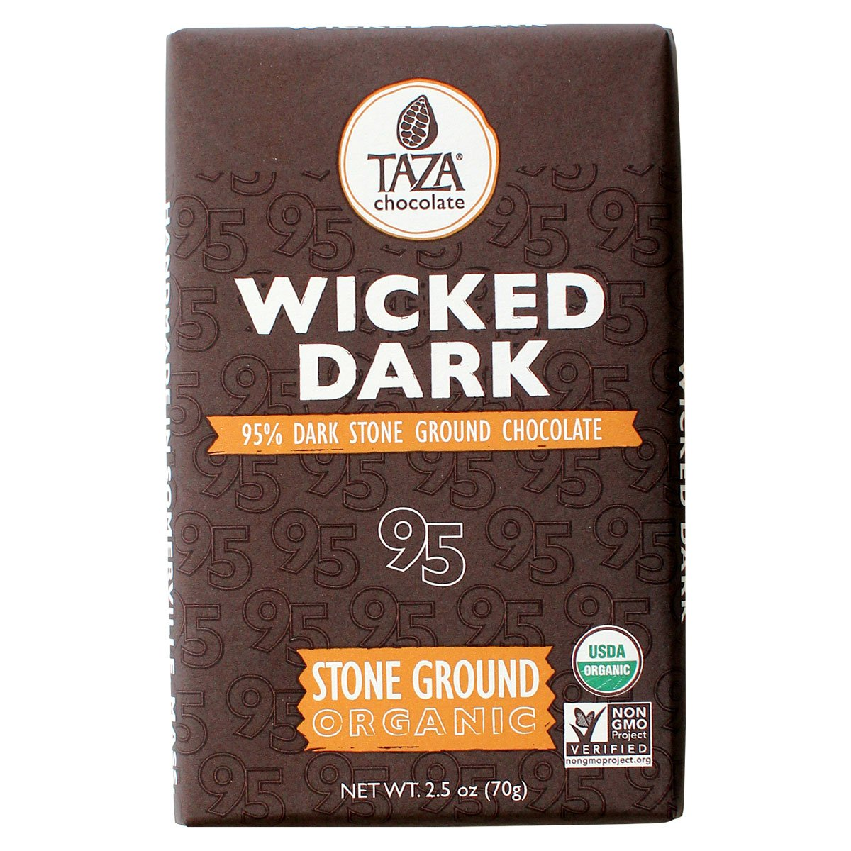 Taza Chocolate | Amaze Bar | Wicked Dark | 95% Stone Ground | Certified Organic | Non-GMO | 2.5 Ounce (1 Count)