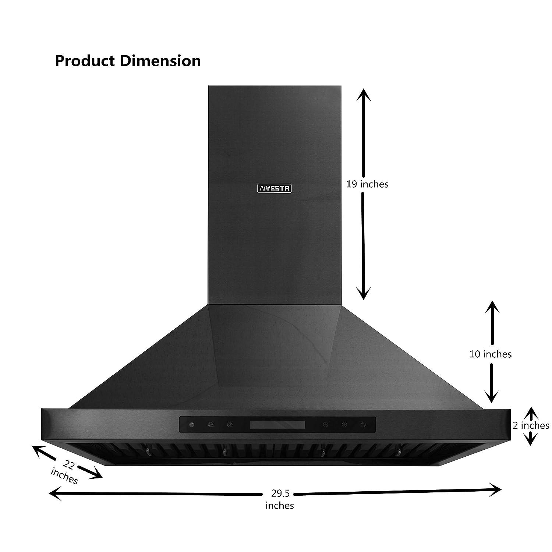 VESTA 30 900CFM Black Stainless Steel Wall Mounted Range Hood Triangle Shape