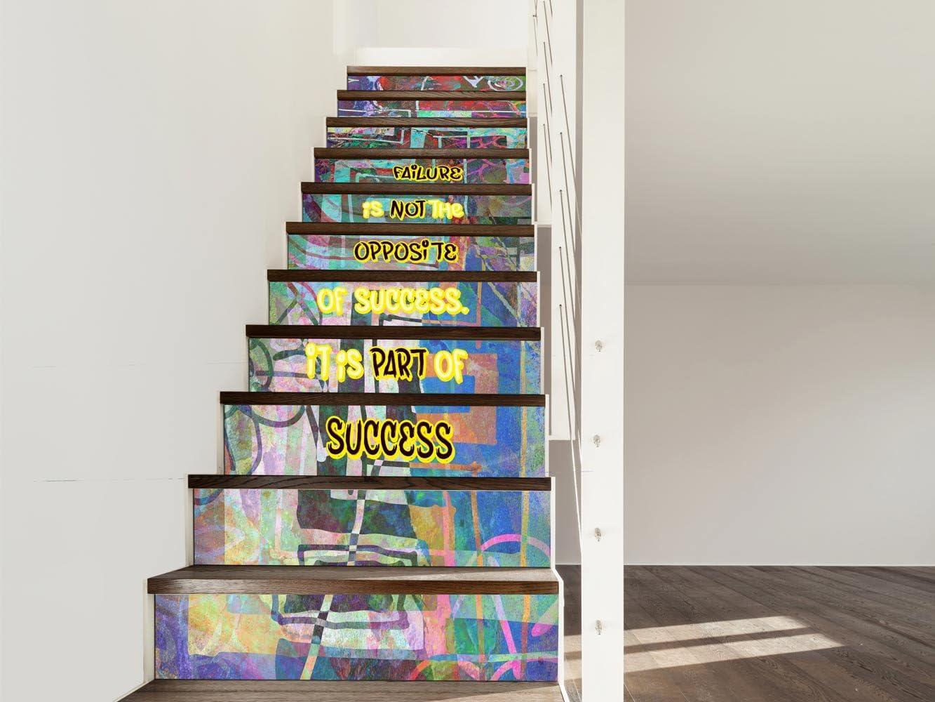 Vinilo para Escaleras Colores | 16 Pegatinas Adhesivas Para Paredes Escaleras | Vinilo Decorativo | Varias Medidas 90 x 18 cm | Escaleras | Decoración Escaleras Huellas Contrahuellas: Amazon.es: Hogar