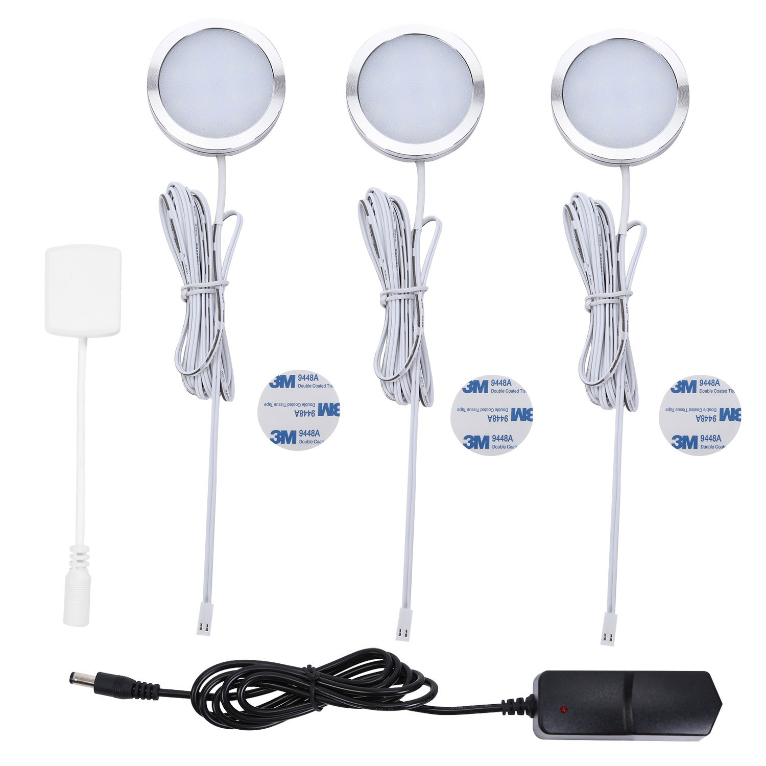 DIFEN LED Under Cabinet Lighting Kit, 750lm Puck Lights Under Counter Lighting, 4000K Nature White, All Accessories Included, Kitchen Lighting - Closet Light Set of 3