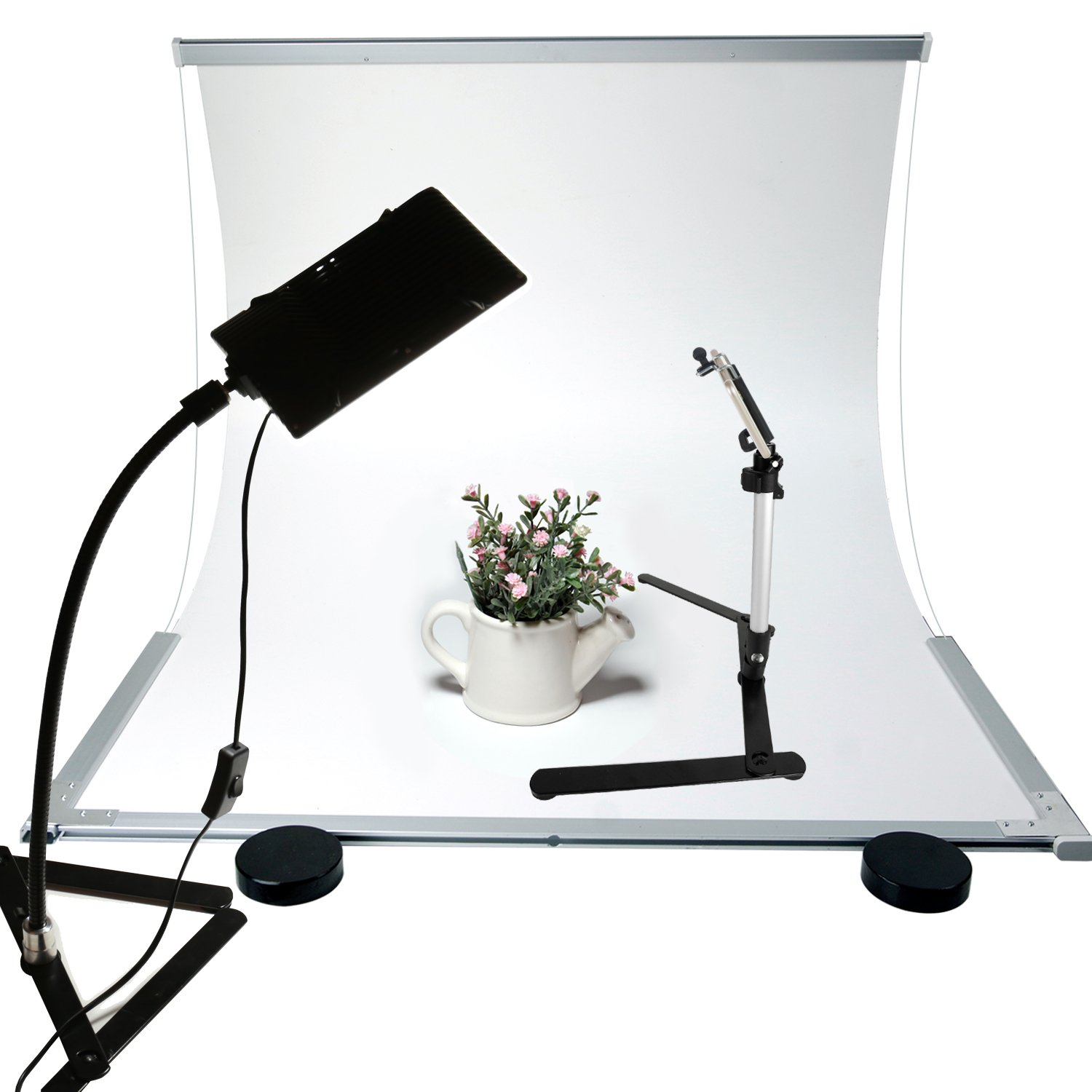 "LS Photography White Table Top Infinity Board with Gooseneck LED Table Top Light Stand Clamp, 17"" Tripod, and Cell Phone Holder Adapter for e-Commerce and Product Shooting, LGG764 by LS Photography"