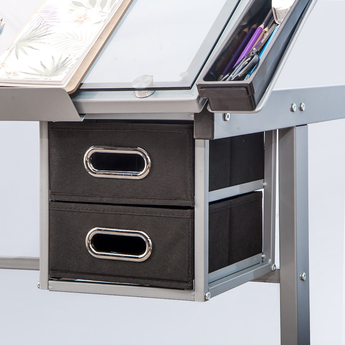 Harper&Bright Designs Adjustable Drafting Table Drawing Desk with Tempered Glass Top, Two Drawers and Castors by Harper&Bright Designs (Image #6)