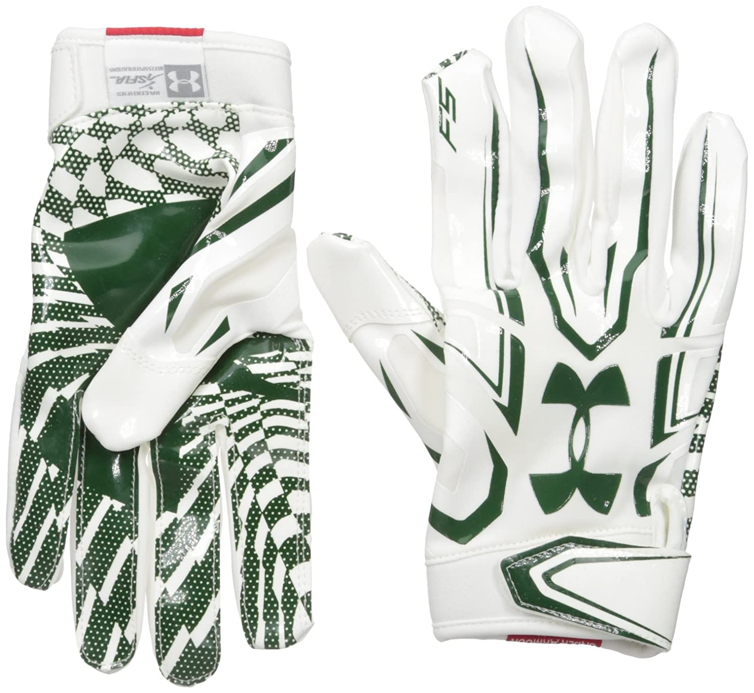 Under Armourメンズf5 Football Gloves B01DEHUV36 White/Forest Green Large Large|White/Forest Green