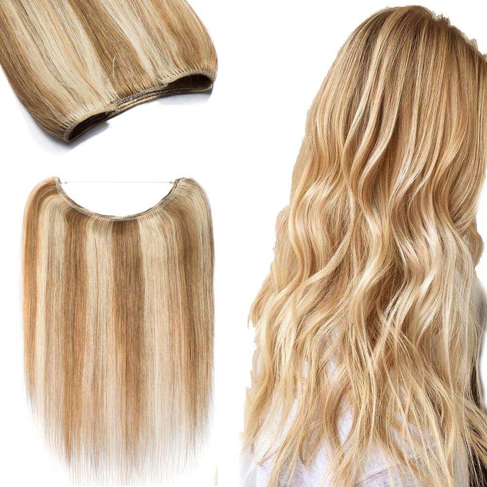 "100% Hidden Wire Human Hair Extensions Highlight Fish Line Remy Invisible Secret Wire Hairpieces No Clips No Glue for Women Beauty 22"" 75g #12/613 Golden Brown Mix Bleach Blonde 71Z1IFuKN9L"
