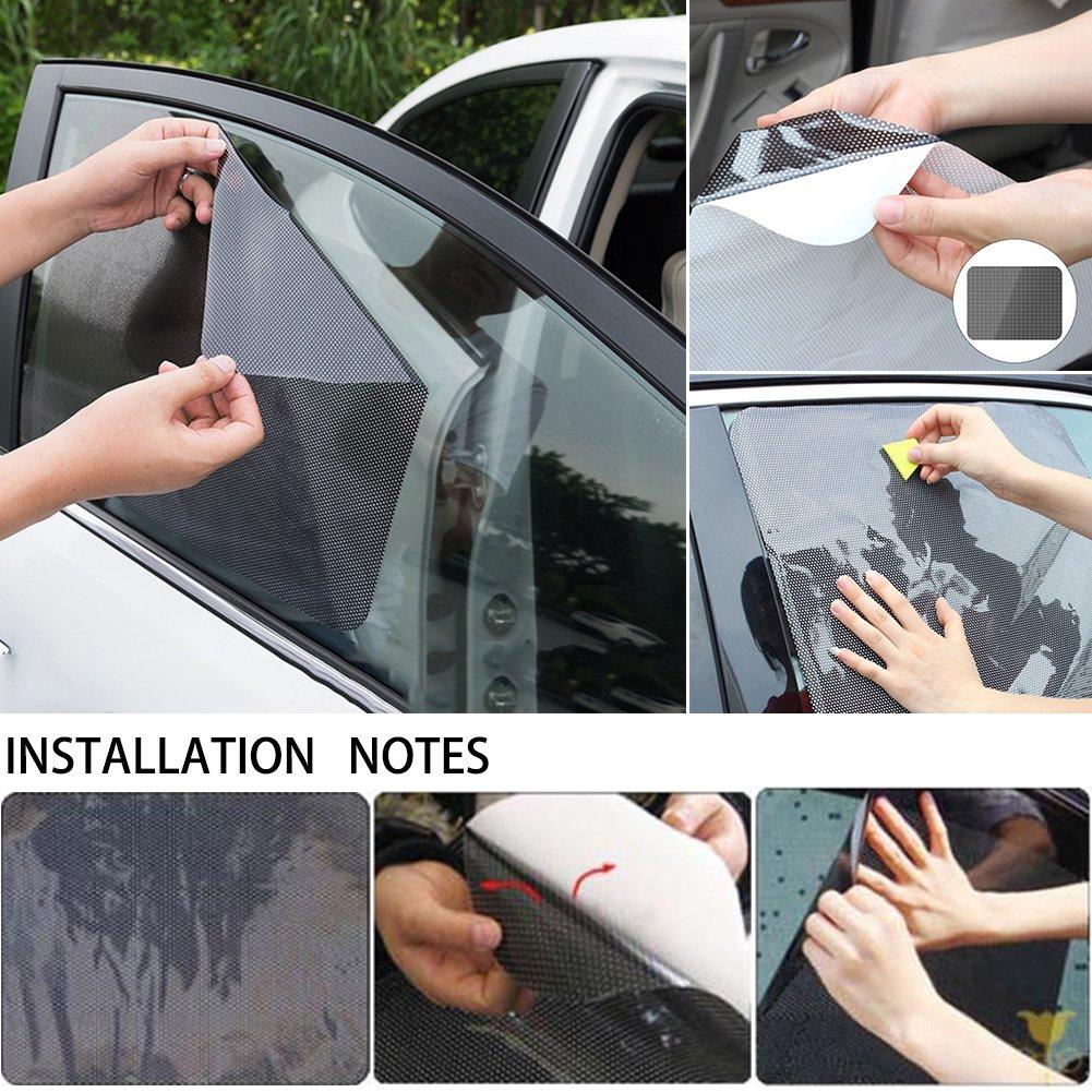 Pack de 2 parasoles para coche ventanas laterales con agujeros peque/ños 42 x 38 cm parasol negro protector de ventana negro negro PVC protecci/ón solar