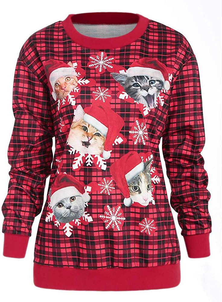 STORTO Clearance Christmas Tops,Women Cat Snowflake Plaid Sweatshirt Pullover