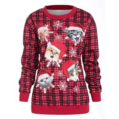 Goosuny Damen Weihnachtspullover Lässige Katze Schneeflocke