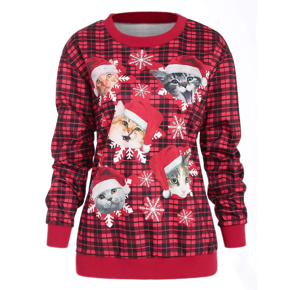 FEDULK Women Sweatshirt Christmas Plaid 3D Cat Print Funny Graphic Pullover Casual Blouse(Red,US Size L = Tag XL)