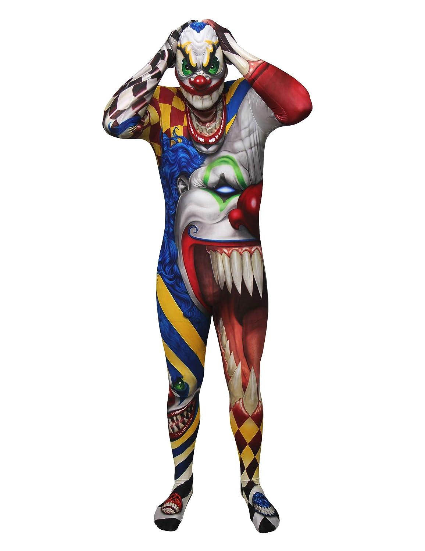 KULTFAKTOR GmbH Psycho Clown Morphsuit Halloween bunt XL (bis zu 1,90 m)