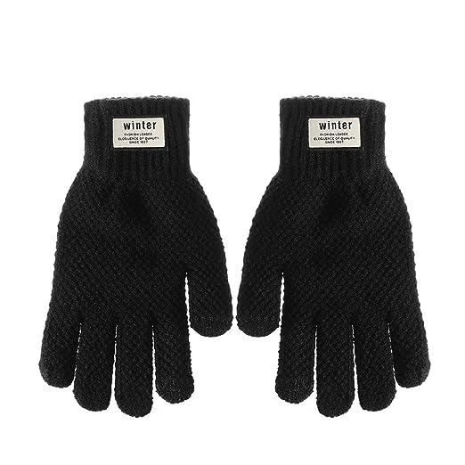 617602ef1 Winter Men Knitted Gloves Flexible Full Finger Thicken Wool Cashmere Solid  Gloves,Black 1