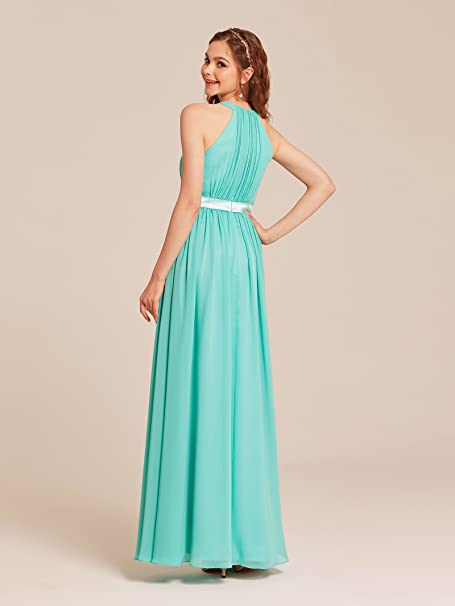 Halter Bridesmaid Dress Long Chiffon Women Evening Maxi Gown