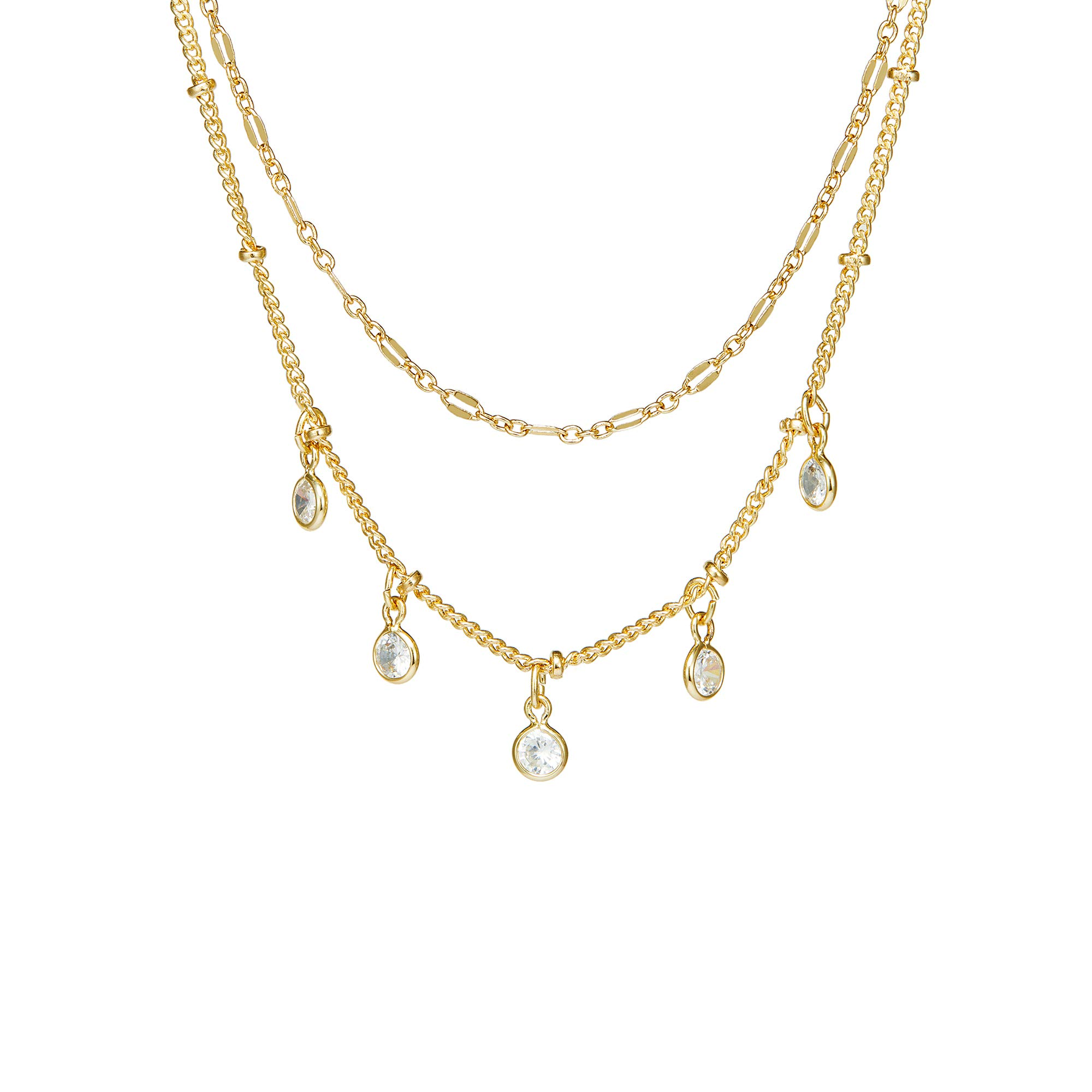 Fettero Gold Choker Dainty Necklace 14K Gold Fill Beads Chain Double Layered Collar Five Charm Round CZ Pendant