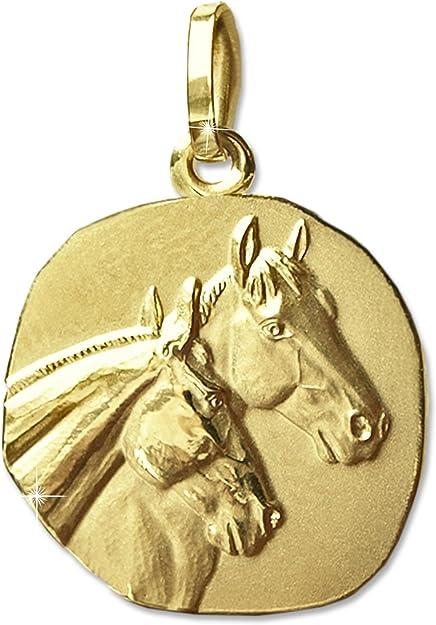 CLEVER sCHMUCK pendentif cheval en 2 unrunde médaille mat 16 mm pferdeköpfe mat et brillant en véritable or 333