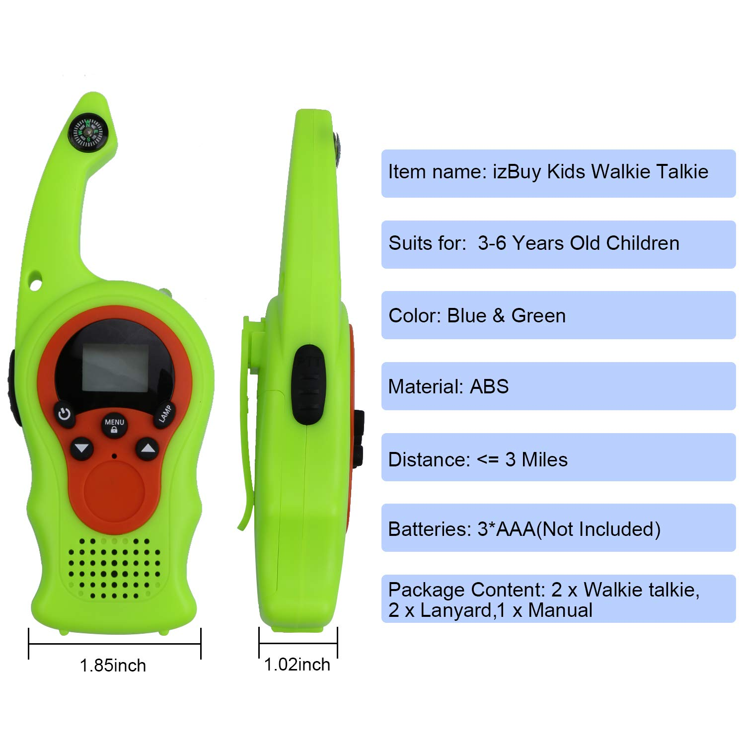 izBuy Kids Walkie Talkies, 22 Channels 3 Miles Range with Compass Flashlight, 2 Way Radio Walkie Talkie for Boys and Girls, 2 Pack Walkie Talkies with Lanyards, Ideal Outdoor Indoor Partner by izBuy (Image #3)