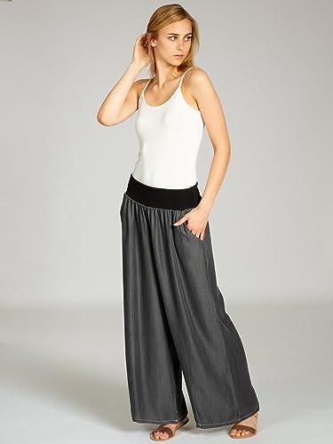 Pantaloni a palazzo effetto jeans morbidi estivi Donna