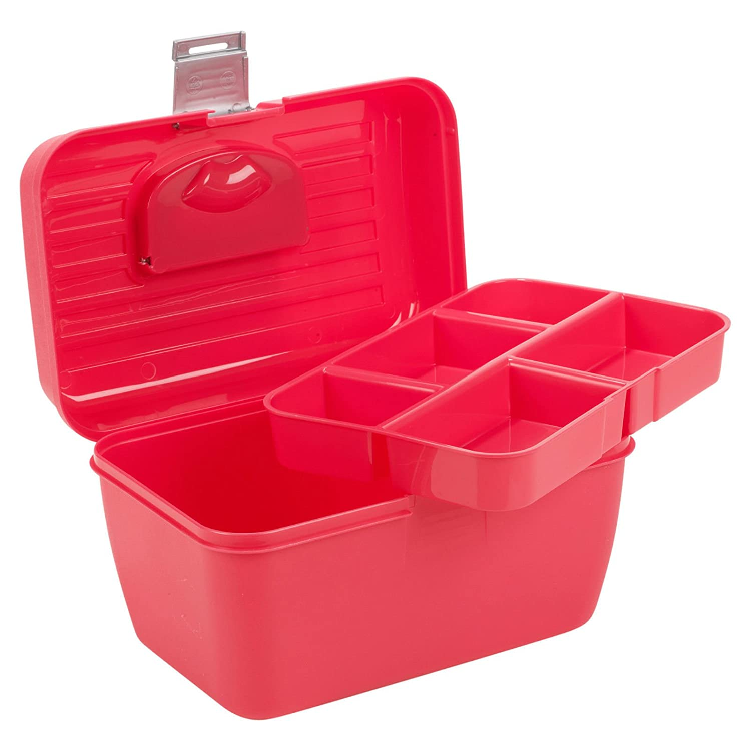Storage Box With Removable Tray Carry Tool Case with Handle Multi Functional Organiser - Blue EGT