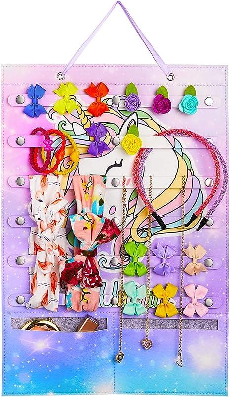 Basumee Stirnband Halter Veranstalter f/ür M/ädchen Regenbogen Einhorn Speicher Halter Filz Wandbehang Veranstalter f/ür Haarspangen Haargummis Schmuck