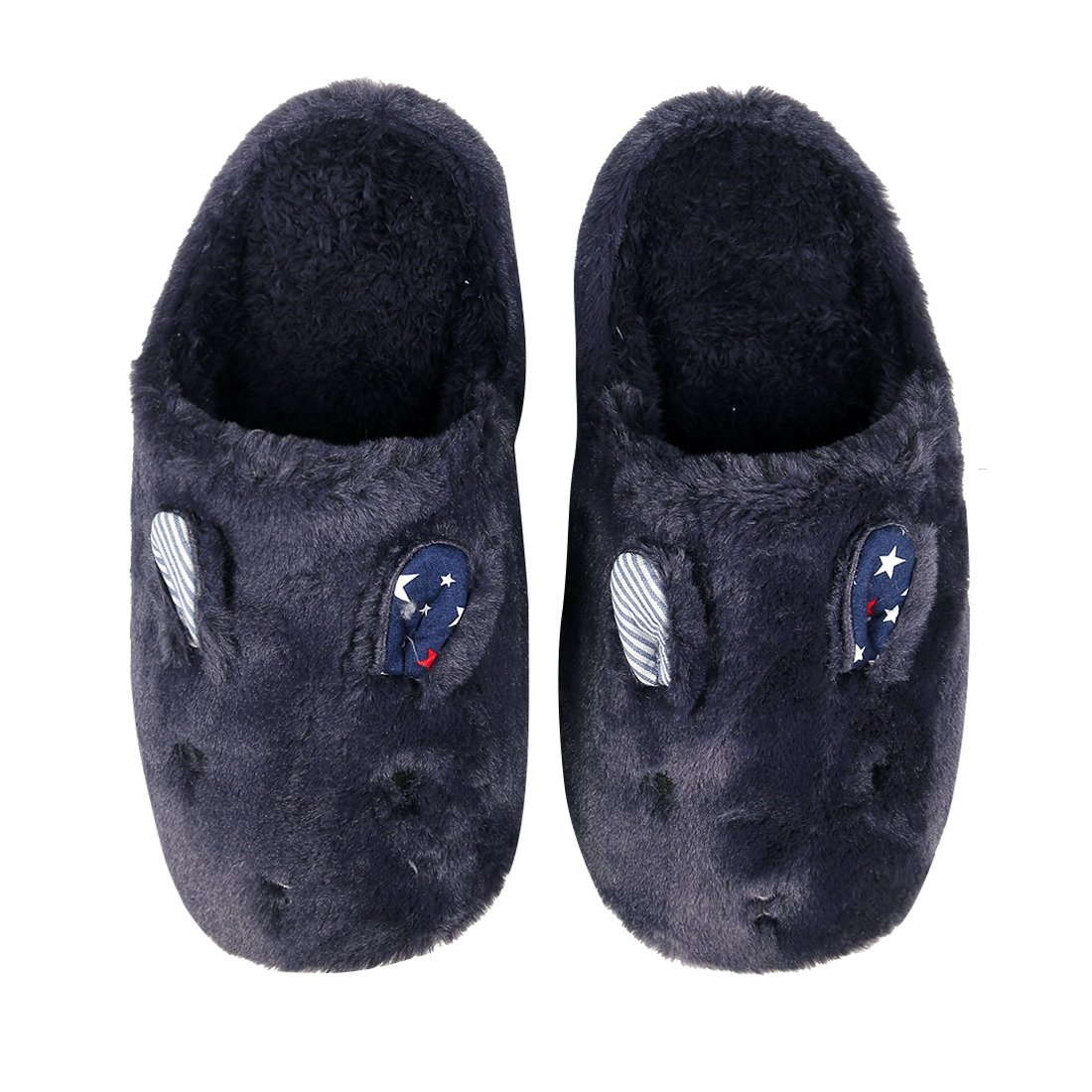 3d7a14f70 Galleon - Cute Animal Home Slippers Navy Rabbit Indoor Slippers Waterproof  Sole Fuzzy House Slippers Kids 8N-L
