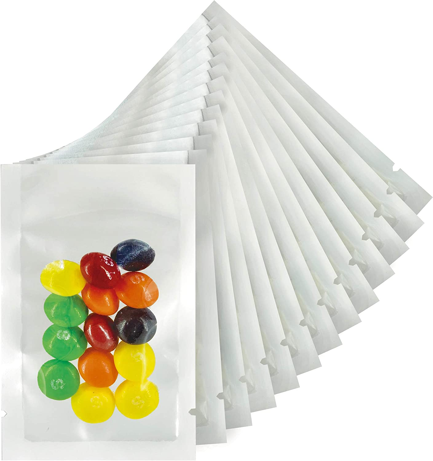 1000 Count Mylar Heat Seal Bags - White and Clear Mylar Vacuum Seal Bags - Food Grade Sealable Bags for Packaging and Samples - Small Flat Sample Bags Sealable With Tear Notch (2.5 x 3.5 inch)