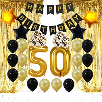 50th Birthday Decorations Gifts For Men Women 50 Party Backdrop Supplies Kit Foil