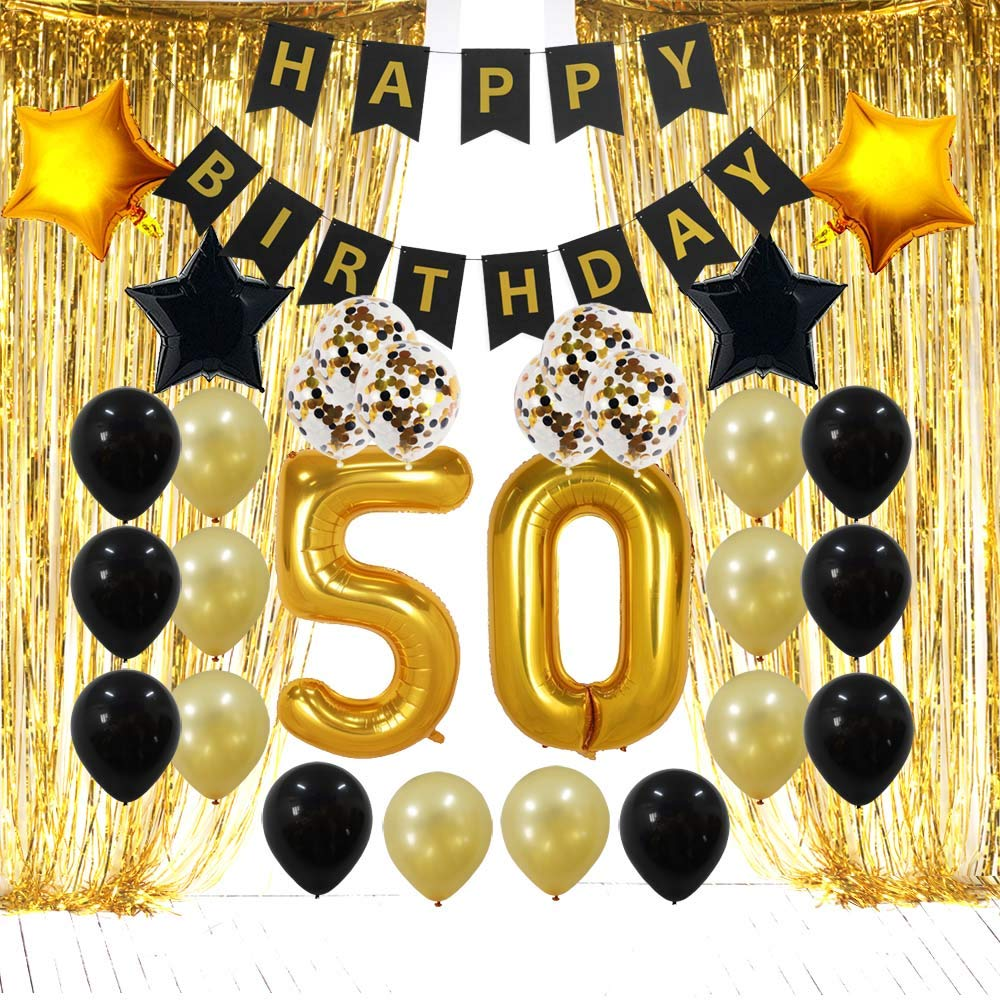 50th Birthday Decorations Gifts for Men & Women 50 Birthday Party Backdrop Supplies Kit, Foil Fringe Curtain, 50th Birthday Banner Balloons