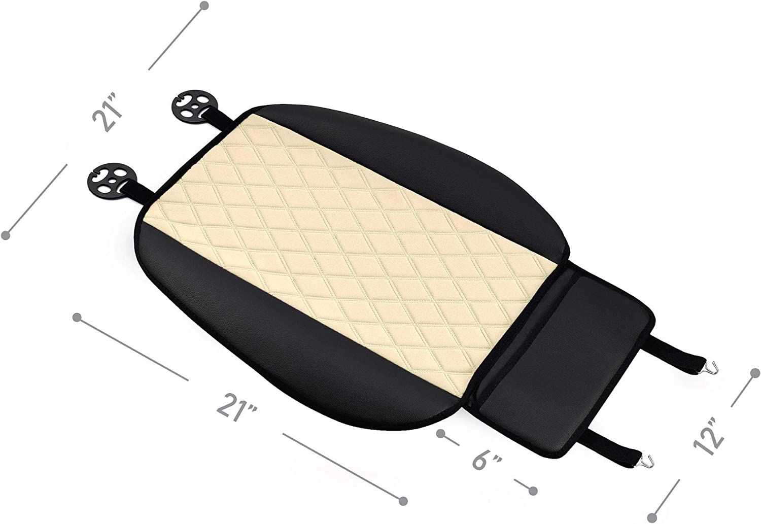 Beige Universal Fit for Cars Trucks /& SUVs FH Group FB210102 Faux Leather//NeoSupreme Seat Cushion Pad with Front Pocket Front Set