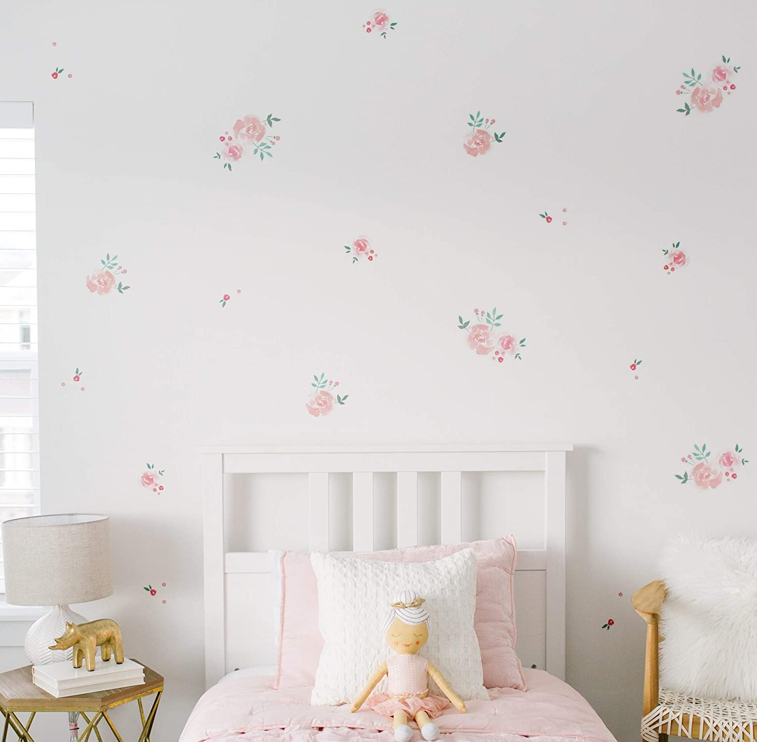 """Modern Maxwell Wall Art Decals for Girls Nursery, Bedroom, Living Room """"Emmy"""" Floral Room Sticker 56 Pieces"""