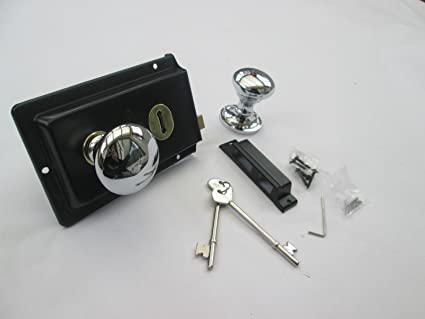 Polished Chrome Victorian Mushroom Rim Door Knobs /& Rim Sash Lock Set