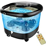 ACEVIVI Foot Spa Bath Massager with Heat and Massage and Bubble Jets, Motorized Shiatsu Massage Ball, Motorized Maize Roller, Rotatable Pedicure Stone, Red Light, LED with Remote Control (Black)