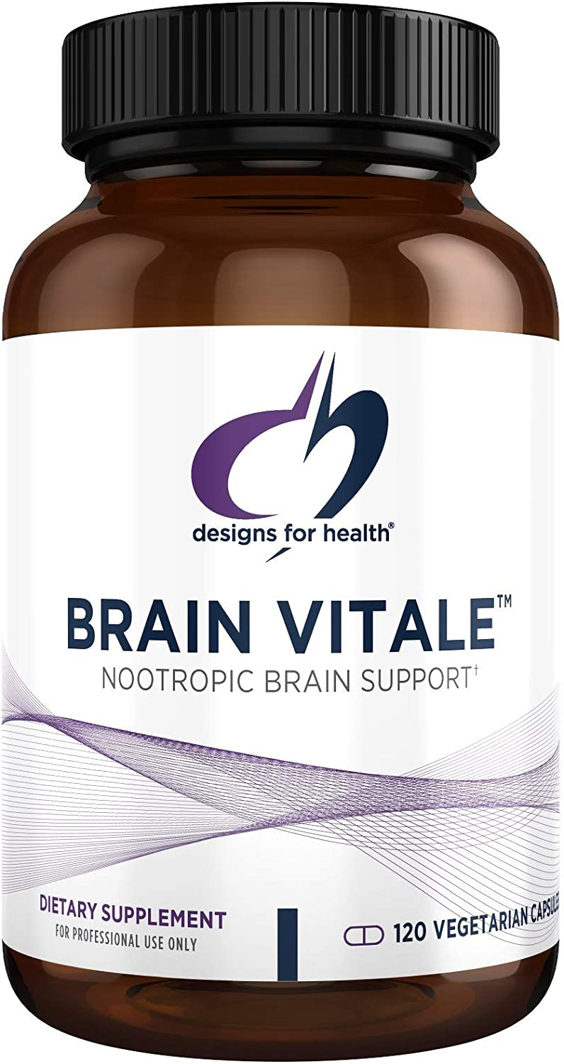 Designs for Health Brain Vitale with Cognizin Citicoline - 'Nootropic' Supplement to Help Support Cognition, Mood + Memory with GPC Choline, Ginkgo + Acetyl L Carnitine HCL (120 Capsules)