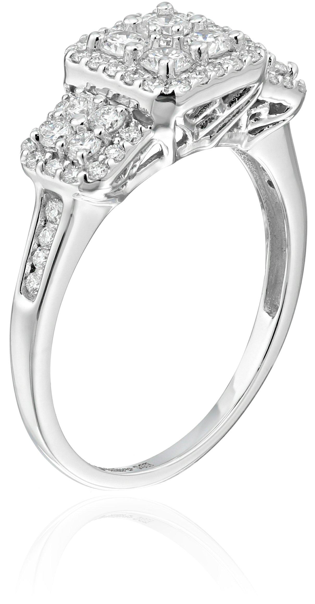 Keepsake Signature 14k White Gold Diamond Three-Stone Engagement Ring (1cttw, H-I Color, I1 Clarity), Size 7 by Amazon Collection (Image #2)