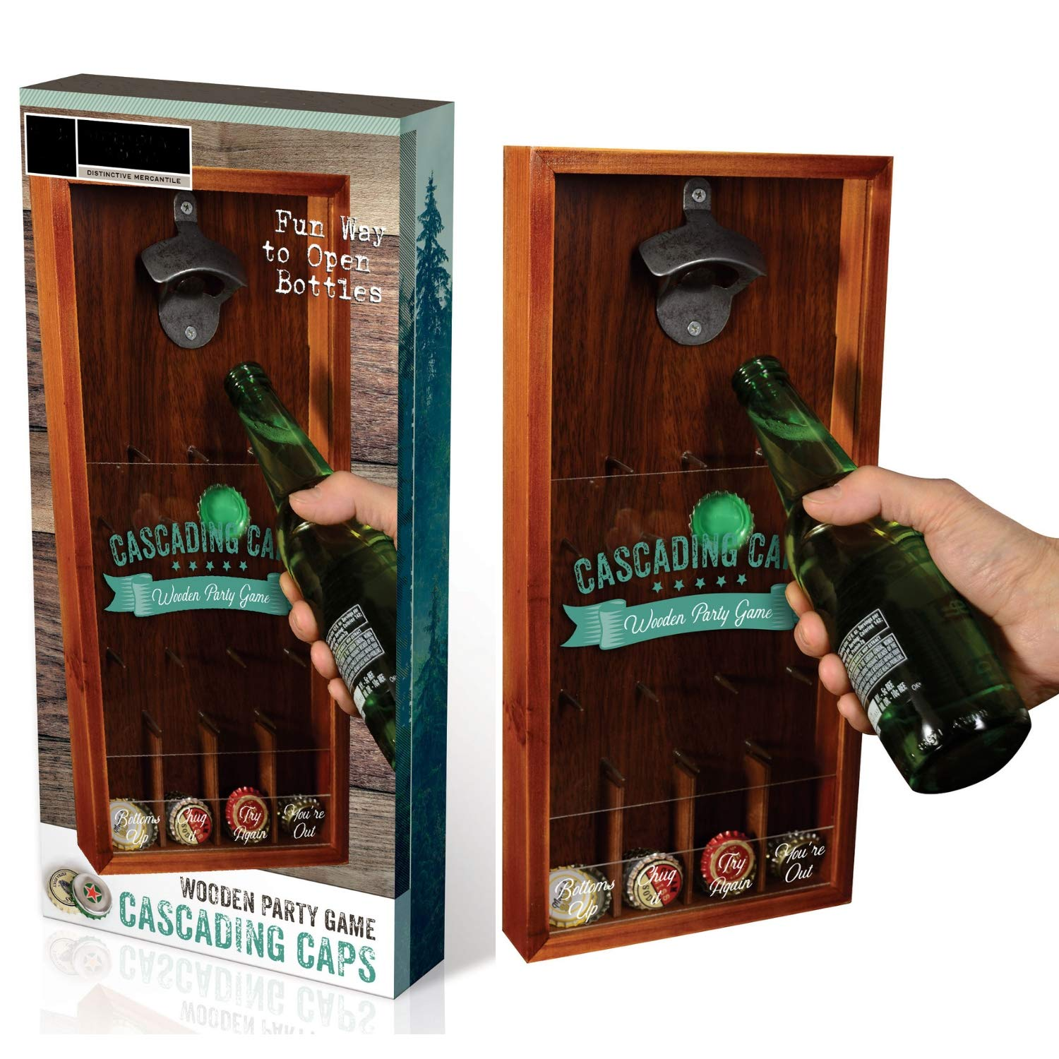 Amazon com: Cascading Bottle Caps Party Game - Wooden Board