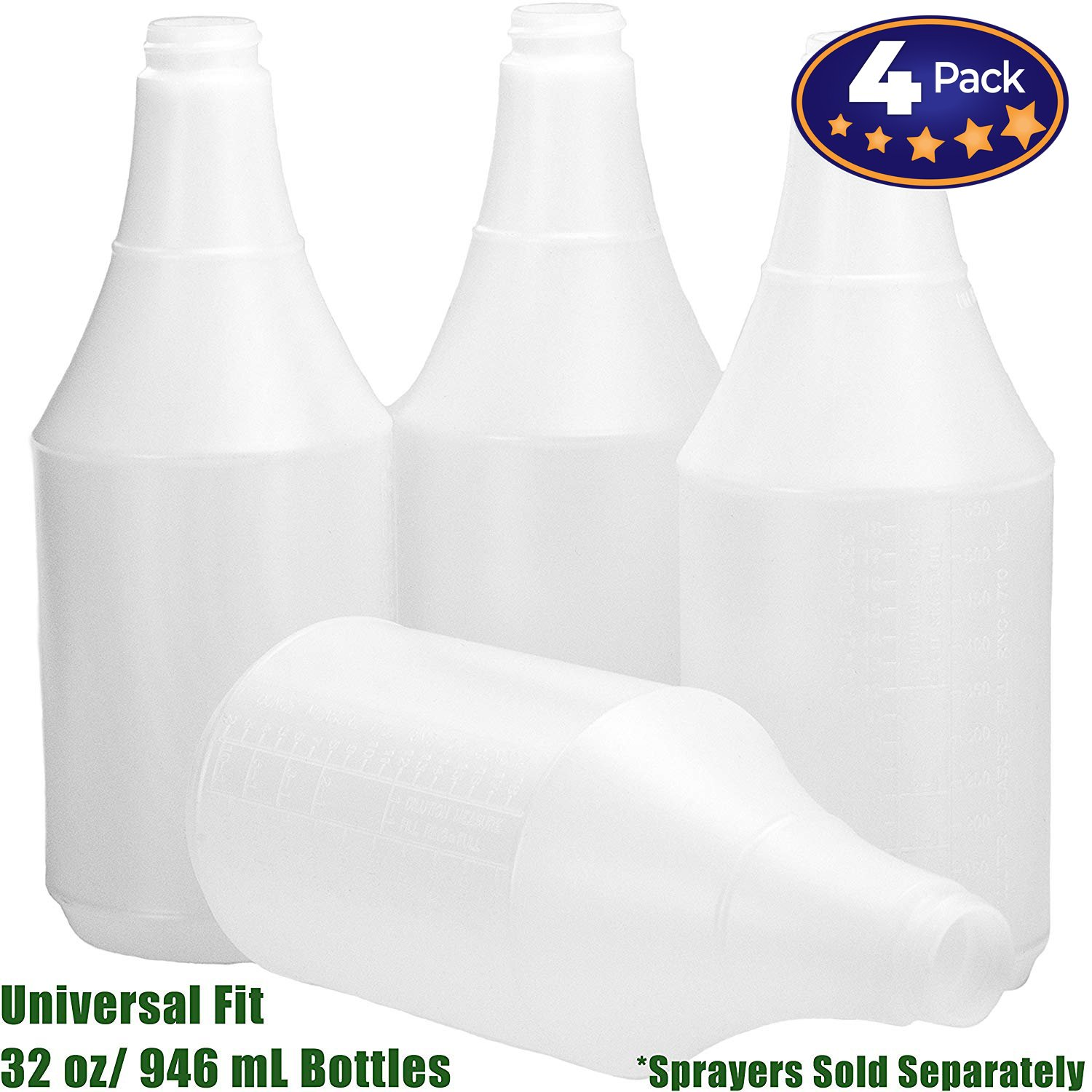 Mop Mob Commercial Grade Chemical Resistant 32 oz Bottles ONLY 4 Pack Embossed Scale for Measuring. Pair with Industrial Spray Heads for Auto Car Detailing Janitorial Cleaning Supply or Lawn Care