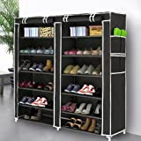 Blissun 7 Tiers Shoe Rack Shoe Storage Organizer Cabinet Tower Non-Woven Fabric Cover, Black, BLIS-A09