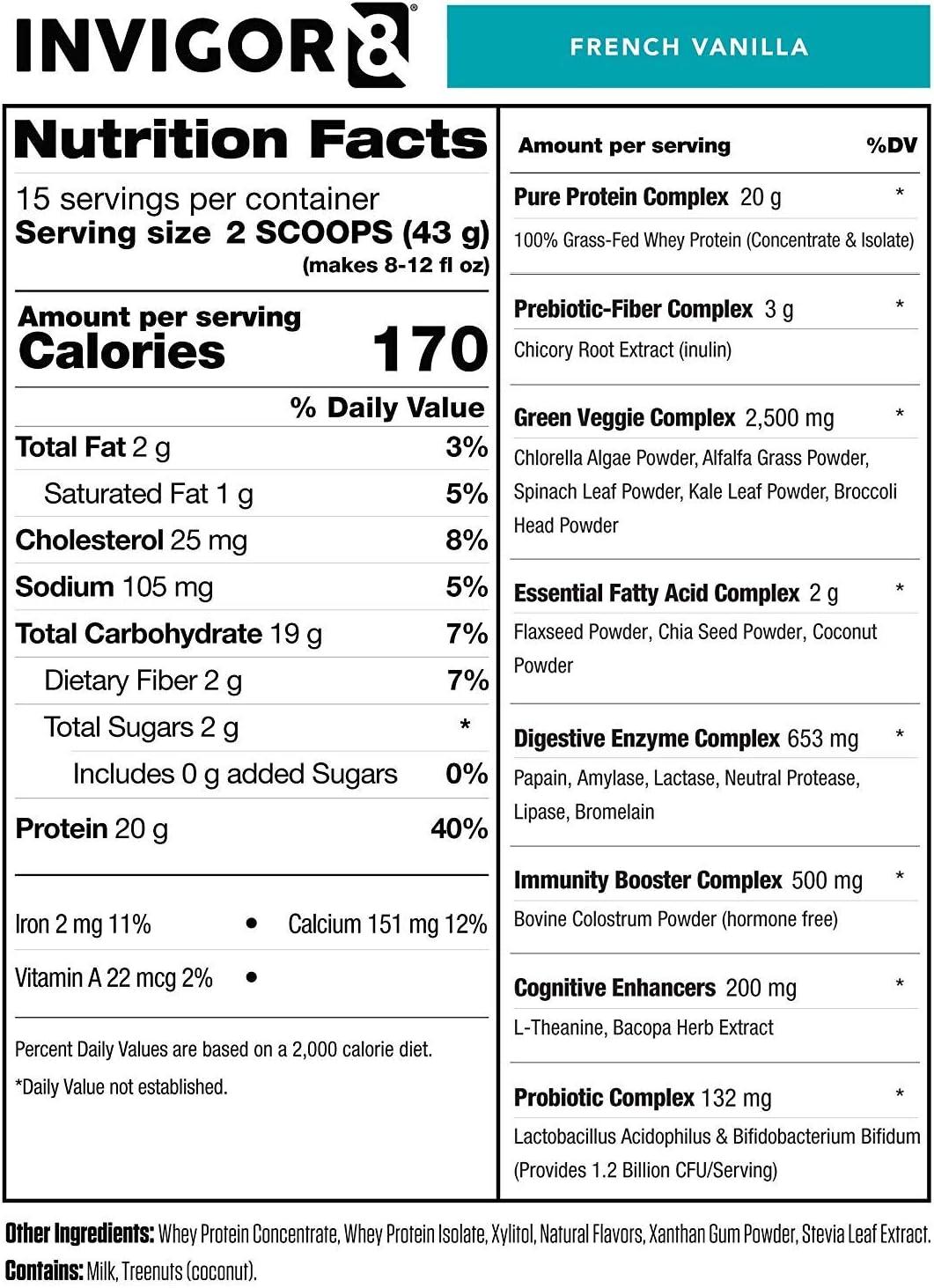 Amazon.com: INVIGOR8 Superfood Shake (4 unidades de vainilla ...