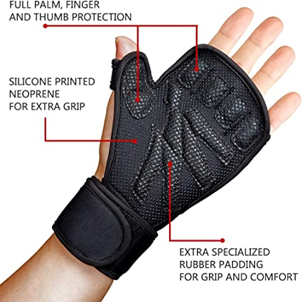 Bodybuilding and Exercise CynaSport Inner Hand Gloves with Wrist Strap Leather Weight Lifting Gym Body Building Cross Training Gloves Work Out Training Straps Workout Wrist Support Training Fitness