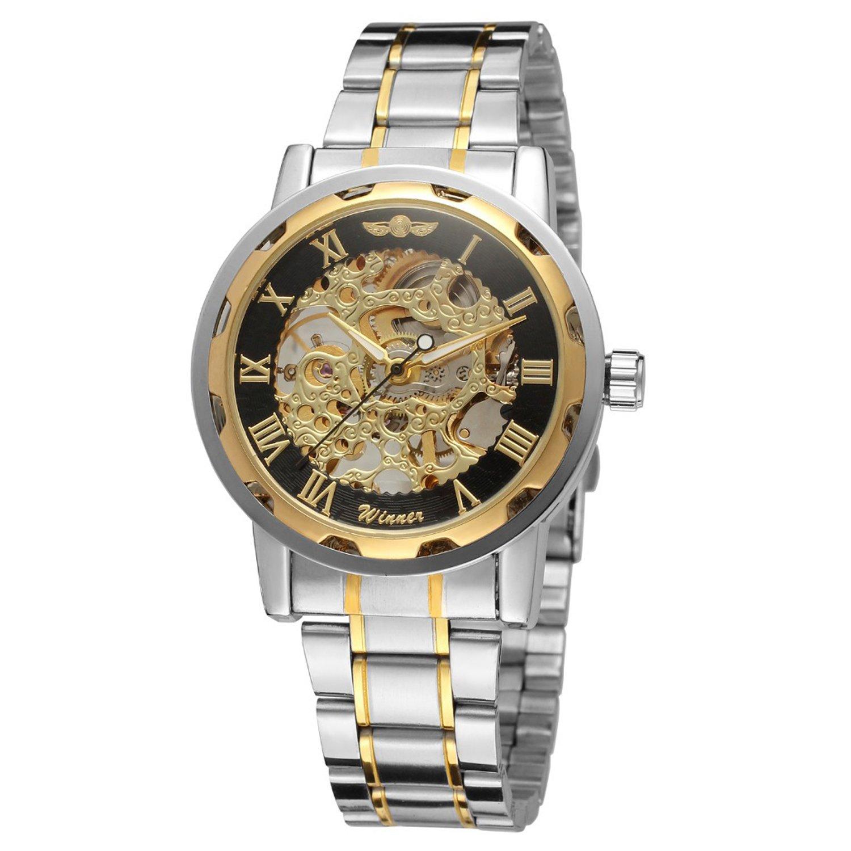 Winnerクラシックメンズスチールストラップダイヤルスケルトン機械スポーツArmy腕時計 B06Y65ZB68